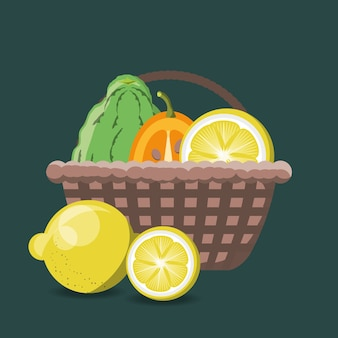 Basket with citric fruits