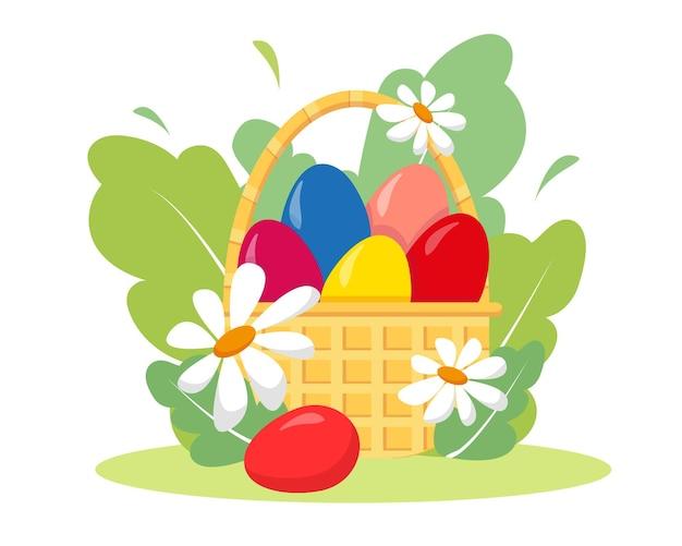 イースターの卵、花、植物が入ったバスケット。