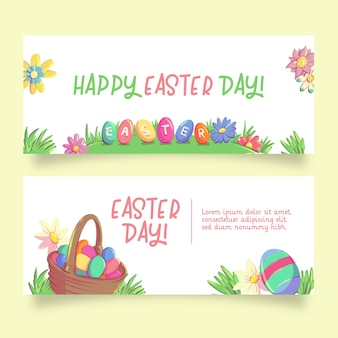 Basket with eggs easter banners