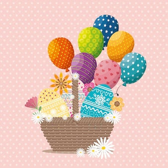 Basket with eggs paint easter card