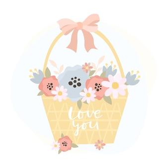 花のバスケットとあなたを愛して碑文