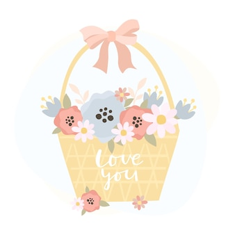 Basket with flowers and love you inscription