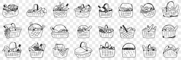 Корзина с набором еды каракули