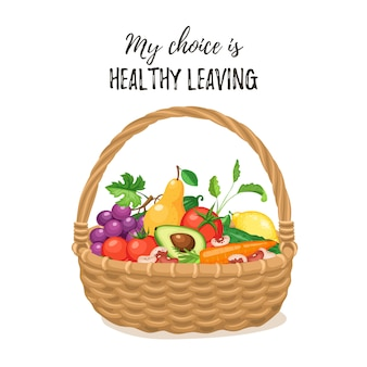 Basket with fresh food background