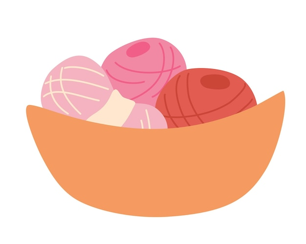 Basket with multi-colored balls of yarn. skein of wool. wicker basket full of knitting materials. needlework, tools for sewing and knitting collection. isolated vector illustration flat design.