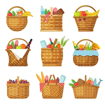Basket with products. handcraft picnic hamper with various food vegetables fruits vector baskets. picnic product, basket with handle, traditional outdoor accessory illustration