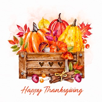 Basket with pumpkins watercolor thanksgiving background