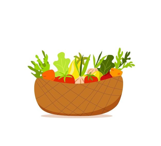 Basket with vegetables colorful cartoon vector illustration. vegetarian nutrition market concept: onion pumpkin tomato carrot salad and other product. organic healthy food harvest delivery package