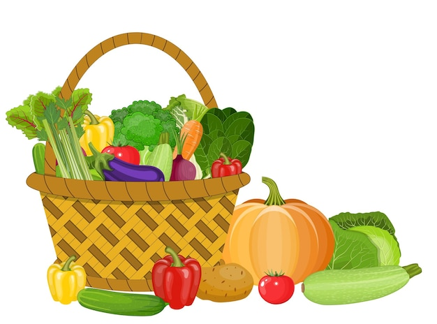 Basket with vegetables isolated on white