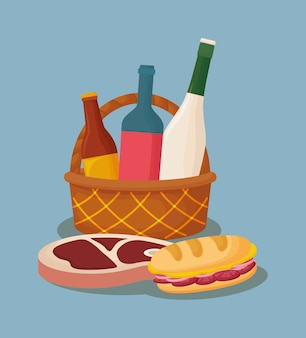 Basket with wine bottles and sandwich