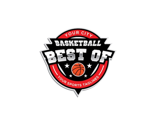 Basketbal emblem logo template with best of text
