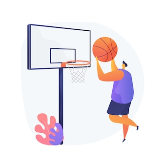 Illustrazione di vettore di concetto astratto di pallacanestro. campionato di campionato, giocatore di gioco, rete da basket, vincitore del torneo, squadra sportiva universitaria professionale, gioca a palla, metafora astratta dell'arena americana.