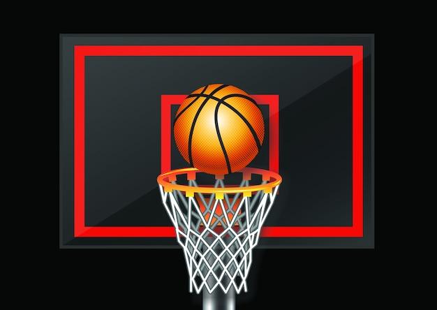 검은 배경에 농구 다시 보드 벡터 디자인.