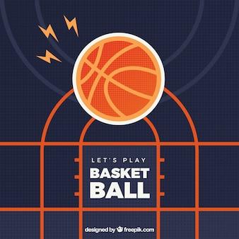 フラットデザインのバスケットボールの背景