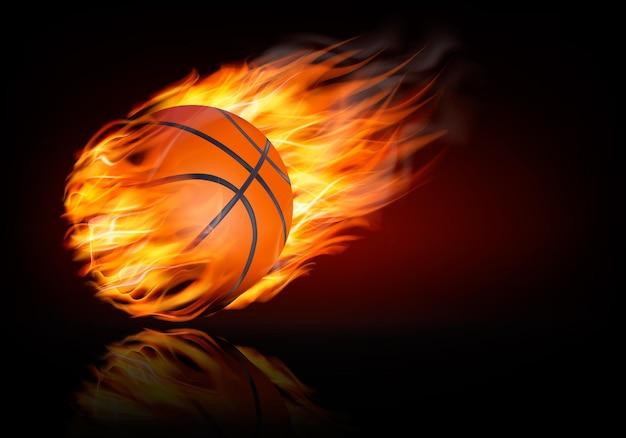 燃えるようなボールとバスケットボールの背景。