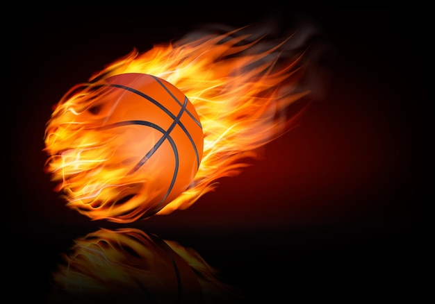 Basketball background with a flaming ball.