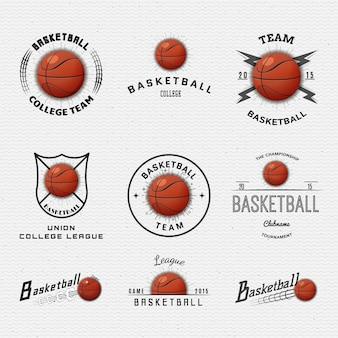 バスケットボールのバッジのロゴとラベルはデザインに使用できます