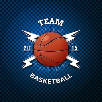 バスケットボールバッジロゴとラベル