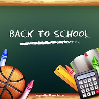 Basketball bal and school materials with balckboard