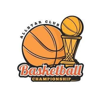 Баскетбольный мяч и значок чашки, спортивный чемпионат