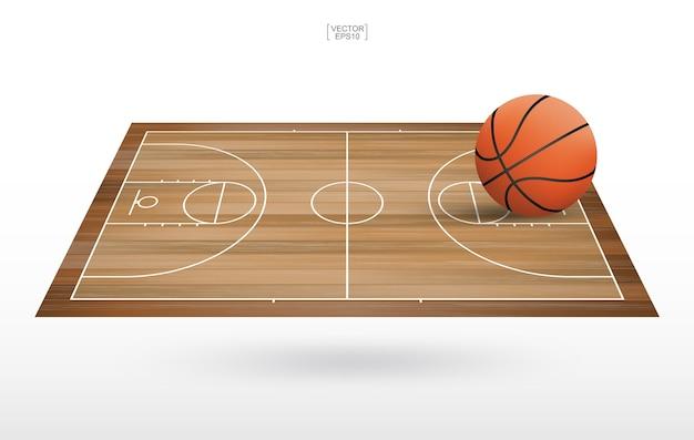 Basketball ball in basketball court area