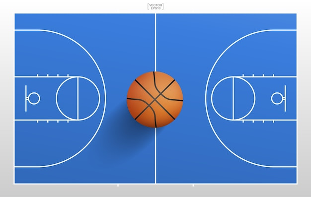 Basketball ball and basketball field background