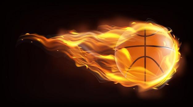 Volo della palla di pallacanestro nel vettore realistico delle fiamme