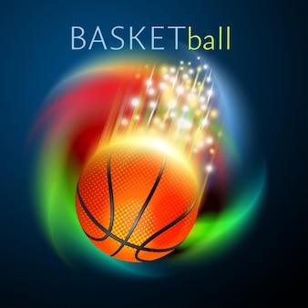 무지개 배경 위로 날아가는 농구공. 밝고 빛나는 벡터 모션 효과.