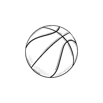 농구 공 손으로 그려진된 개요 낙서 아이콘입니다. 농구 장비, 팀 볼 게임, 스포츠 활동 개념. 인쇄, 웹, 모바일 및 흰색 배경에 인포 그래픽에 대한 벡터 스케치 그림.