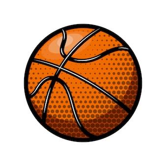 白い背景の上のバスケットボールのイラスト。ロゴ、ラベル、エンブレム、記号の要素。図