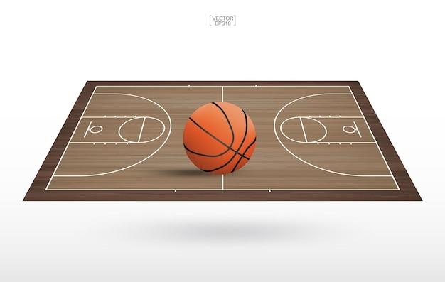 Баскетбольный мяч в зоне баскетбольной площадки. с деревянным фоном образца. векторная иллюстрация.