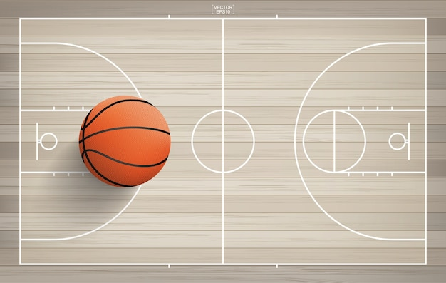 Баскетбольный мяч в зоне баскетбольной площадки