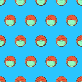 Basketball ball in medical face mask seamless pattern on a blue background. sport theme vector illustration