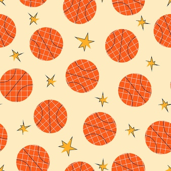 トレンドの手描きスタイルのバスケットボールボールスポーツパターン