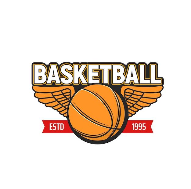 スポーツゲームの翼のアイコンとバスケットボールのボール