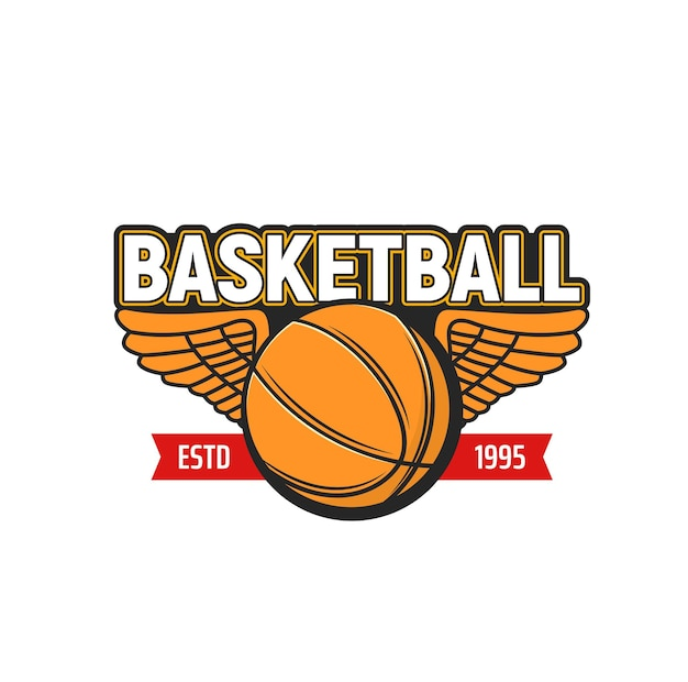 Basketball ball with wings icon of sport game