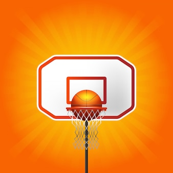Basketball basket and ball with lines background