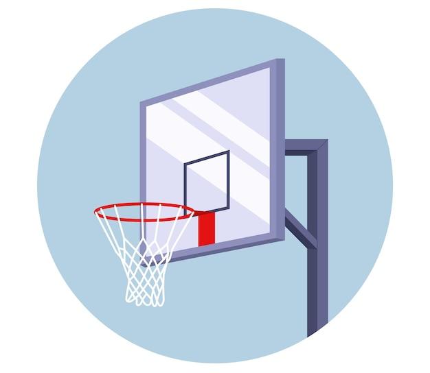 Баскетбольная корзина вписана в круг. оборудование для спорта. игра с мячом. векторная иллюстрация