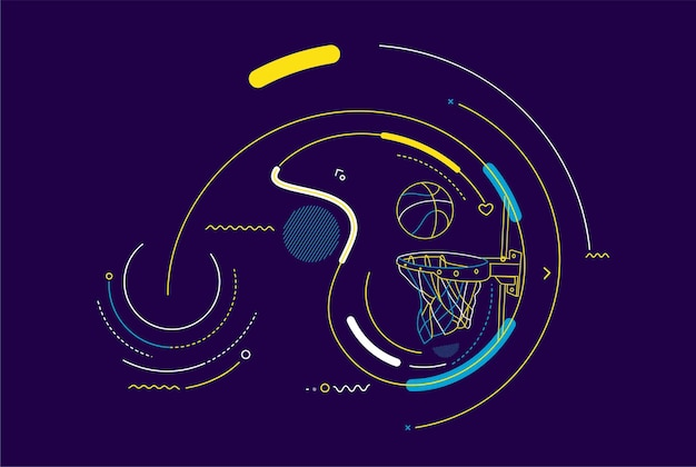 バスケットボールのバスケットショット、フープ、ゲーム、カラフルな線画のベクトル図です。