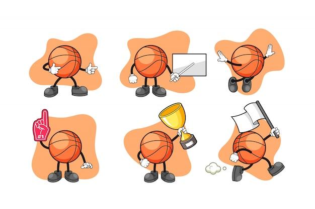 Basketball cartoon character set