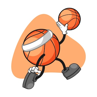 Basketball cartoon character with a jumping gesture