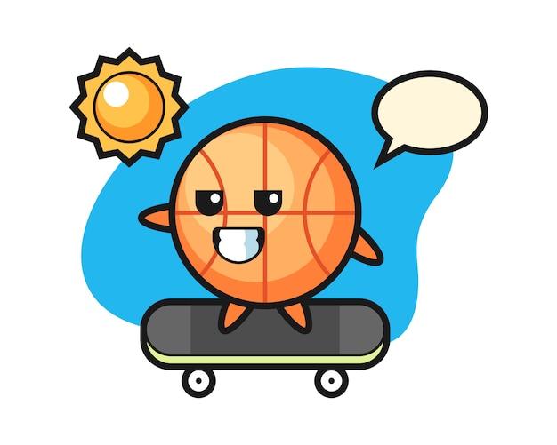 Basketball cartoon ride a skateboard