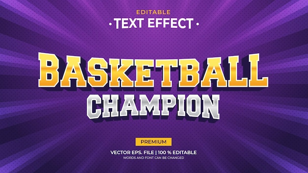 Basketball champion editable text effects