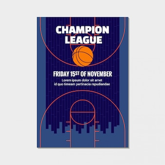 Basketball champion league poster, sport event announcement