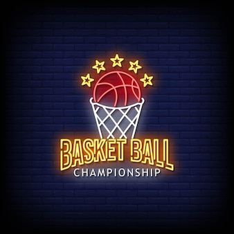 Basketball championship logo neon signs style text vector