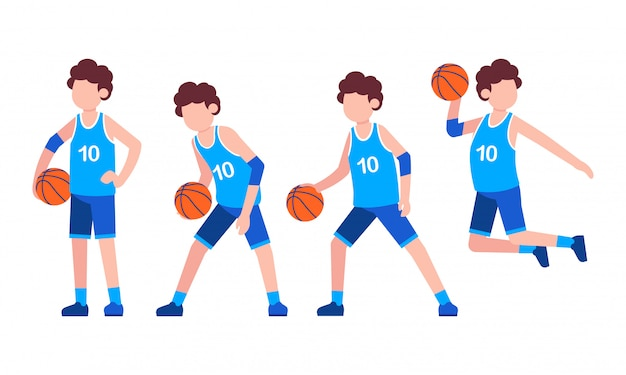 Basketball character flat illustration