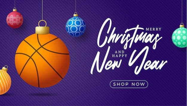 Рождественская открытка баскетбола. с рождеством христовым спортивная поздравительная открытка. повесьте на нитке баскетбольный мяч как рождественский мяч и красочную безделушку на фиолетовом горизонтальном фоне. спорт векторные иллюстрации.