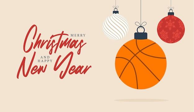농구 크리스마스 인사말 카드입니다. 기쁜 성 탄과 새 해 복 많이 받으세요 평면 만화 스포츠 배너입니다. 배경에 크리스마스 공으로 농구 공입니다. 벡터 일러스트 레이 션.