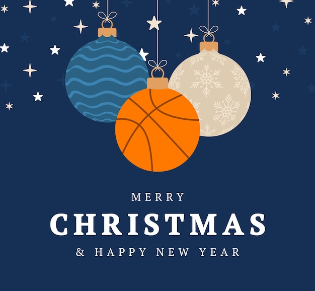 Basketball christmas greeting card. merry christmas and happy new year flat cartoon sports banner. basketball ball as a xmas ball on background. vector illustration.