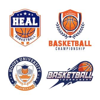Basketball club logo emblem designs with ball sport badge premium vector